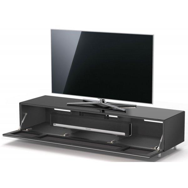 Just Racks by Spectral JRL1654T BG Black Gloss TV Cabinet with Speaker Grille Front and Soundbar Mount- Fully Assembled