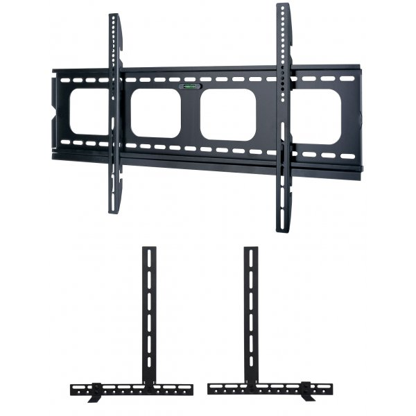 """UM105L Universal Super Thin Fixed Wall Bracket up to 90\"""" TVs with Universal Soundbar Mount included - Black"""