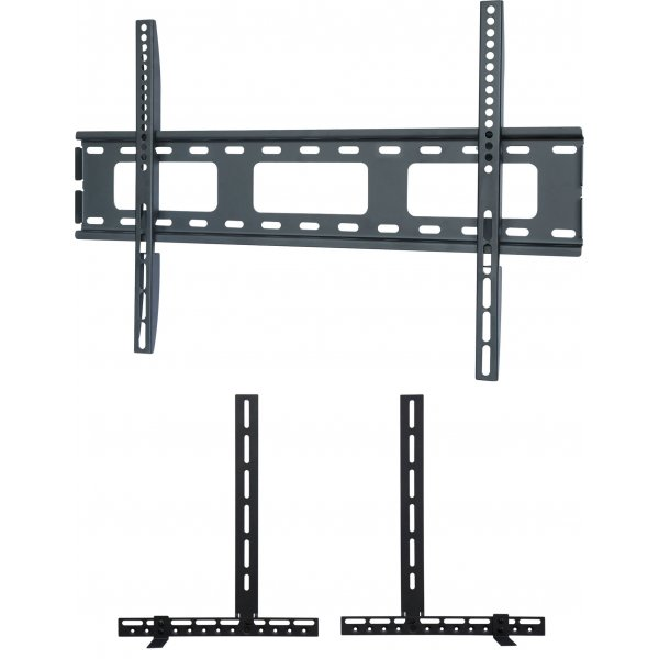"""UM105M Universal Super Thin Fixed Wall Bracket up to 70\"""" TVs with Universal Soundbar Mount included - Black"""