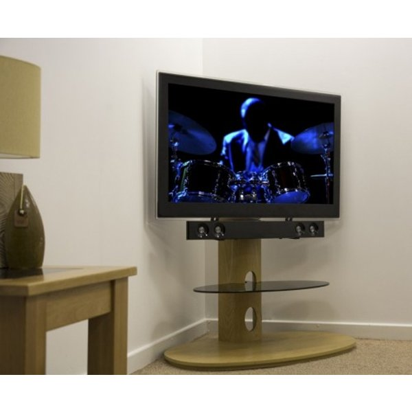 """AVF FSL930CHEO Chepstow Oak Cantilever TV Stand for up to 65\"""" including Soundbar Mount"""