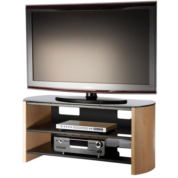 Light Oak Wood Veneer TV Stand for screens up to 50""