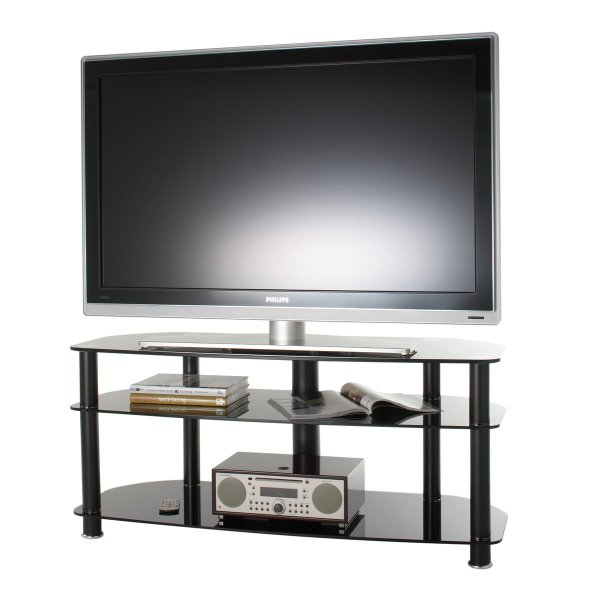 """Alphason Black Glass TV Stand for up to 50\"""" TVs"""