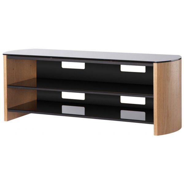 """Alphason Finewoods FW1350 Light Oak Real Wood Veneer TV Stand for screens up to 60\"""""""