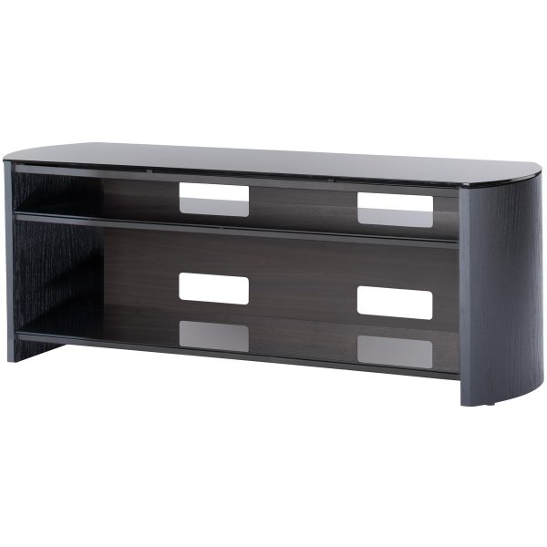 Black Real Wood Veneer TV Stand for screens up to 60""