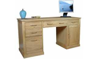 mobel oak twin pedestal computer desk