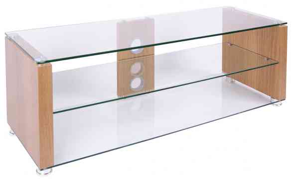 Elegance 1000 Oak TNW Veneer And Clear Glass TV Stand