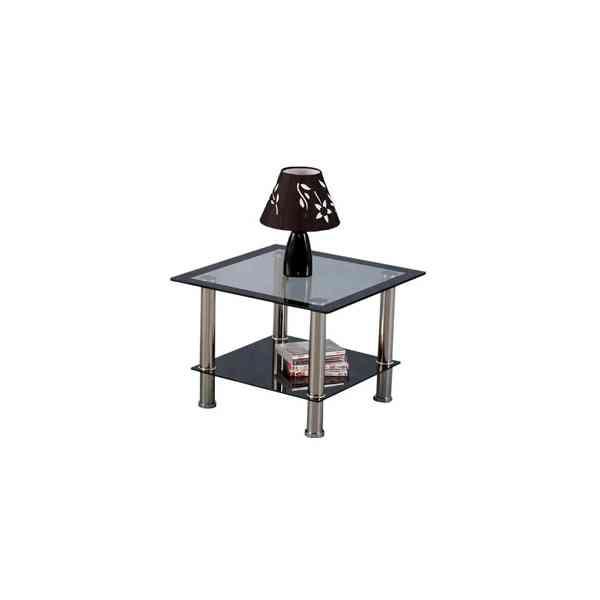 Harlequin Clear Glass and Black Surround Lamp Table