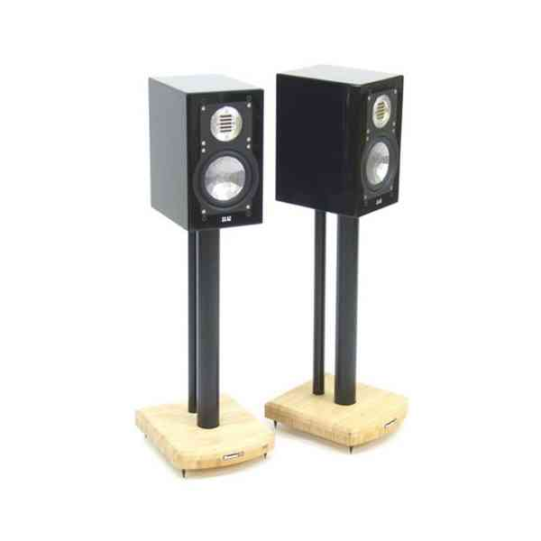 MOSECO 5 Black & Natural Bamboo Speaker Stands