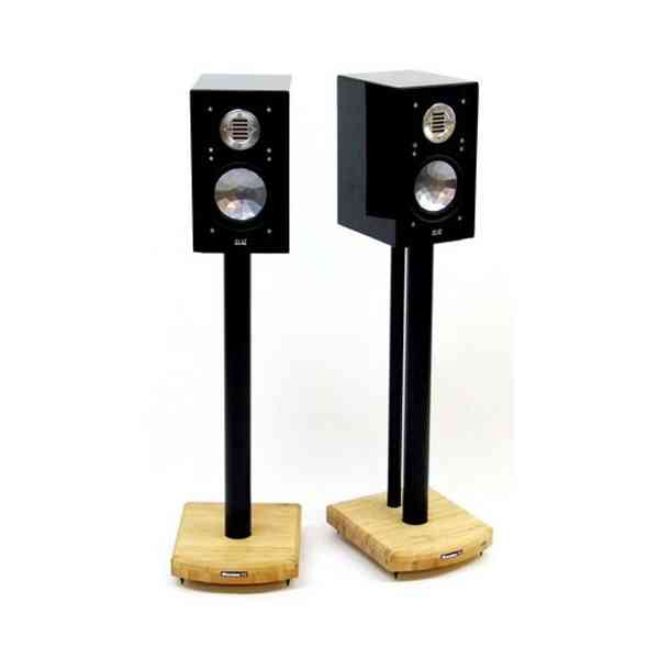 MOSECO 6 Black & Natural Bamboo Speaker Stands