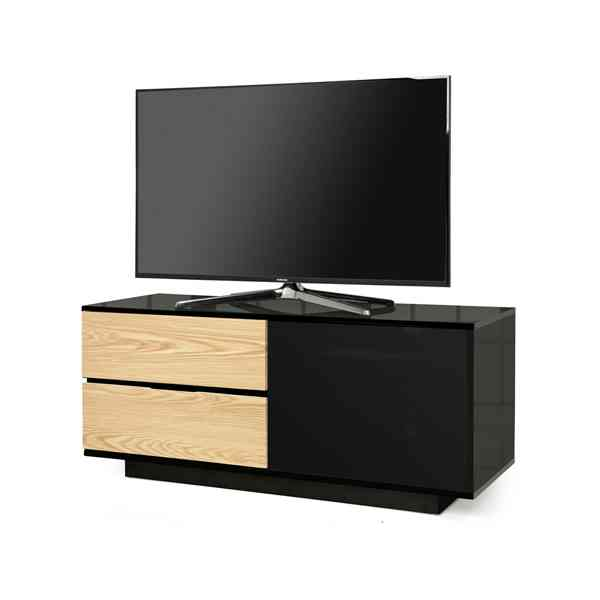 "MDA Gallus Ultra Gloss Black and Oak TV Cabinet For 55"" TV\'s"
