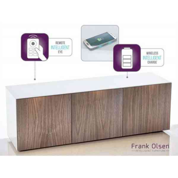 """Frank Olsen White and Walnut TV Stand for up to 70\"""" TVs Fully Assembled"""