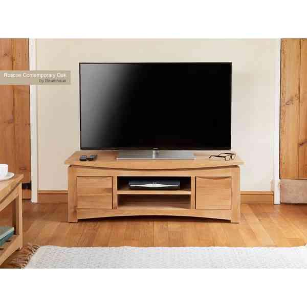 baumhaus roscoe contemporary oak widescreen tv stand