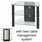 3 Shelf Glass TV Stand - Black Legs with Clear Glass