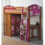 Girls Pine Highsleeper Bed with Funky Pink Design