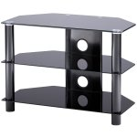 B GRADE Alphason Essentials - 3 shelf black TV Stand for up to 37""