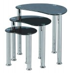 B GRADE Cara Nest Of Three Tables - Black Glass