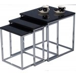 B GRADE Charisma Gloss Black and Chrome Nest of Tables