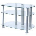 "B GRADE Alphason Clear Glass TV Stand for up to 32"" TVs"