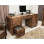 Shiro Walnut Twin Pedestal Computer Desk