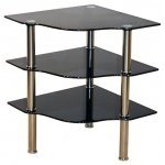 Kansas Black Corner 3 Shelf Table