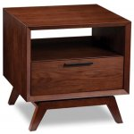 Eras Retro End Table with Drawer in Chocolate Stained Walbut