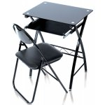 LEVV Black Glass Desk with Folding Chair