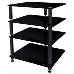 Norstone 4 Shelf Black Glass Hifi Stand
