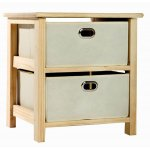 Natural Wood Storage Unit with Fabric Drawers
