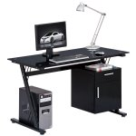 Alphason Montana Black Glass Computer Desk