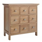Sherwood Oak DVD/CD Cabinet With 9 Drawers