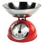 Red Retro Kitchen Scale with Stainless Steel Bowl