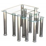 ValuFurniture Crystal Nest of Tables - Clear & Chrome