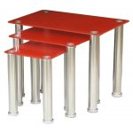 ValuFurniture Crystal Nest of Tables - Red & Chrome