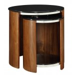Jual JF305 Walnut Glass Shelved Nest of Tables