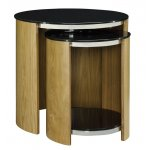Jual JF305 Oak Glass Shelved Nest of Tables