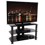 B GRADE Tru-Vue F-TRU800 Black Glass TV Stand