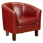 PU Leather Tub Chair in Red