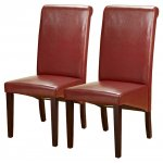 Pair of PU Leather Roll Back Chairs in Red