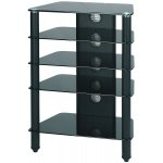 B GRADE AV / LCD TV Stand Black Glass and Black Legs