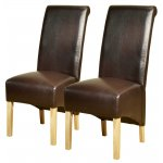 Pair of PU Leather High Scroll Back Chairs in Brown