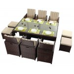 Luxan WGF-219 Port Royal Prestige Brown Cube Table & Chairs - Seats 6