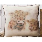 Highland Cow Cushion Watercolour