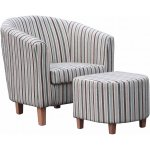 Striped Fabric Tub Chair Set - Duck Egg