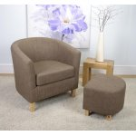 Shankar Linen Effect Tub Chair + Stool Set - Cinnamon