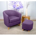 Shankar Linen Effect Tub Chair + Stool Set - Plum