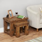 Baumhaus Heyford CRS08A Rough Sawn Oak Nest of 2 Coffee Tables