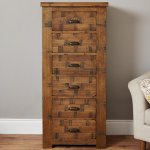 Baumhaus Heyford CRS12A Rough Sawn Oak Tallboy 6 Drawer