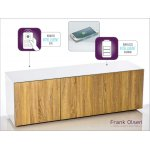 "Frank Olsen INTEL1500WOK White and Oak TV Cabinet For TVs Up To 70"" FREE IPHONE CASE"