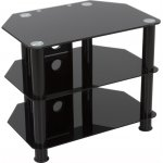 "B GRADE AVF Universal Black Glass and Black Legs TV Stand For up to 32"" TVs"