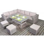 Luxan Rustic Grey Rattan Corner Table Set